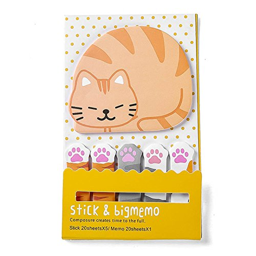 CAOLATOR Notizzettel Papier Haftnotizen Sticky Note Bunt Klebezettel Lustig Klebend Drucken Textstreifen Haftmarker Page Marker Fahnen Tabs Tierform (Katzen)