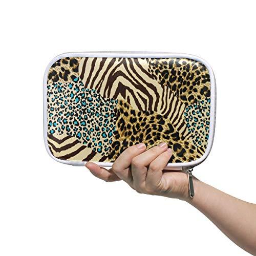 Funnyy, astuccio multifunzione con stampa di animali tigrati, zebrati e leopardati, con cerniera,...