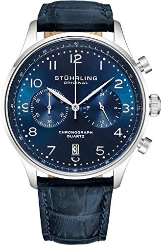 Stuhrling Original Mens Quartz Chronograph Dress Watch - Edelstahlgehäuse und Lederband - Analoges Zifferblatt mit Datumsanzeige GR1-Q Herrenuhrenkollektion (Blue/Blue)
