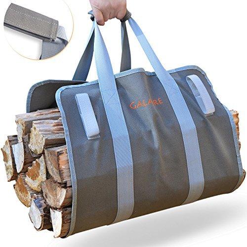 Bolsa de madera de leña Tarea pesada 16oz Lona Transportar Madera Chimenea Cómodo acolchado Handles Plegable con gancho y bucle