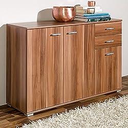 Sideboard mit 3 Türen 2 Schubladen Nussbaum Highboard Kommode Standschrank Mehrzweckschrank Anrichte