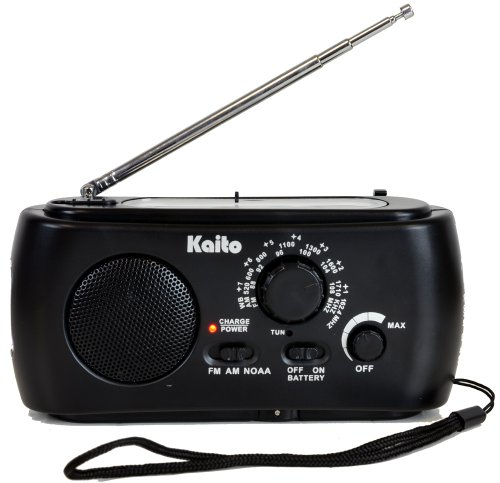 Kaito KA331 Portable Hand Crank AM/FM NOAA Weather Radio with Cell Phone Charger & 3-LED Flashlight Color Black