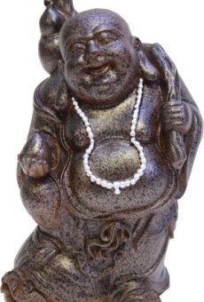 Figura de Buda riendo con botella – para casa y jardín – Altura 22 cm
