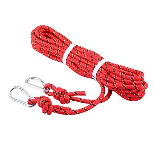 Selighting Cuerda de Seguridad Cuerda de Escalada Profesional de Alta Resistencia para Escalar al Aire Libre y en Interiore Perfessional Rappelling Auxiliar, 10 mm de Diámetro (10m, Rojo)