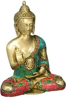 CraftVatika estatua de Buda Shakyamuni–Figura decorativa (, 8pulgadas de latón en color dorado