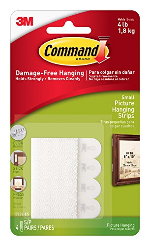 3M Command 17202 - Bandas adhesivas para colgar en la pared, 4 pares, color blanco