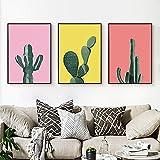 Cuadros De Cactus Estilo Murales Minimalistas Colores