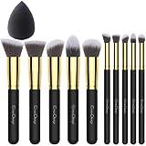 EmaxDesign - Juego de brochas de maquillaje kabuki de fibra sintética para las cejas, base de...