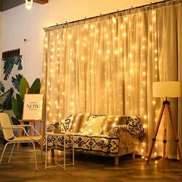 Rideau de Lumière Leds Exterieur/Interieur Fée 8 Modes Commandables Résistant à l'eau Lumière Cordes pour Party de Noël Mariage Fête Décoration de Fenêtre