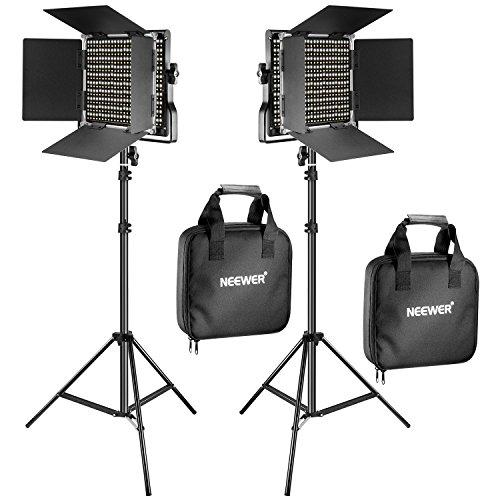 Neewer 2 Kit d'Illuminazione Pannello Luce 660 LED Bicolore Dimmerabile & Cavalletto: Faretto LED...