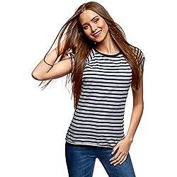 oodji Ultra Mujer Camiseta Básica de Algodón, Gris, ES 34 / XXS