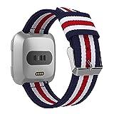 MoKo Cinturino Nylon per Fitbit Versa Watch, Braccialetto Regolabile di Ricambio in Nylon Tessuto per Fitbit Versa Fitness Wristband, Adatto al Polso 4.92 7.48, Blu & Bianco & Rosso