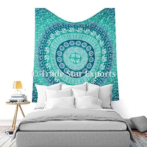 Grande Hippie, étnico Mandala tapices, buena suerte elefante algodón Wall Art, decorativa bohemio colcha, Gypsy playa manta PICNIC manta, diseño psicodélico colgar en la pared, Verde, Matrimonio doble