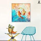 Patined Big Fish Begonia Poster Soggiorno Arte creativa Ristorante pittura decorazione pittura Pittura murale dipinto,60*60 (scatola nera)