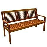 Gartenbank Paolo 3-Sitzer Eukalyptus Hartholz Teakfarbig lasiert