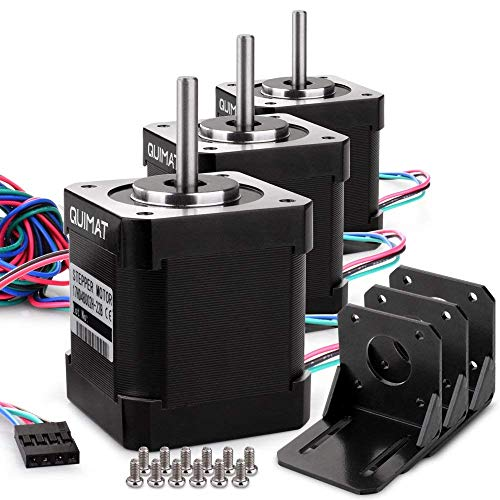 Stepper motor Specification: Step Angle: 1.8 deg Holding Torque: 0.59Nm(84 oz.in) Rated Current/phase: 1.7A Frame Size: 41 x 41mm Body Length: 47mm Shaft Diameter: 5mm Shaft Length: 22mm Weight: 380gMounting Bracket Kit Specification: Three P...