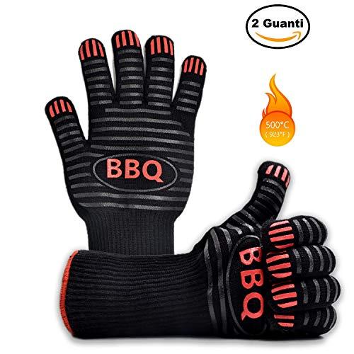 Ponderato Guanti Barbecue Resistenti al Calore al Fuoco e alle Alte Temperature, Professionali,...