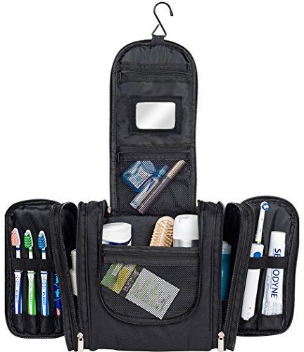 WALISA Kulturbeutel zum Aufhängen für Männer und Frauen, Schwarz, Kulturtasche für Damen und Herren, Waschtasche, Reisetasche, große Kosmetiktasche für Frau und Mann