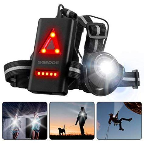 SGODDE Lauflicht,wiederaufladbare USB LED Lauflampe,Brust Lampe wasserdicht Outdoor Sport,120° Einstellbarer Abstrahlwinkel,500 Lumen, 360° reflektierendes Band,Leichtgewichtige Lampe zum Laufen