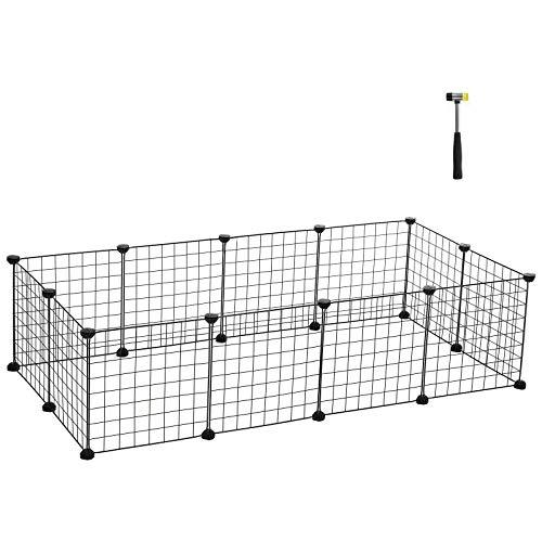 SONGMICS Verstellbares Laufgitter für Kleintiere und Meerschweinchen, inkl. Gummihammer, Gittergehege für Innen, individuell zusammenbaubar, 143 x 73 x 36 cm (B x H x T), schwarz LPI01H
