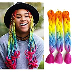 "Kanekalon Xpressions Ombre Black Braiding Hair 24"",Showjarlly Ombre Jumbo Braid Hair Extension High Temperature Fiber 3pcs/Lot 100g/pc For Crochet Twist Braiding Hair(D4#Orange/Yellow/Blue/Purple Red)"