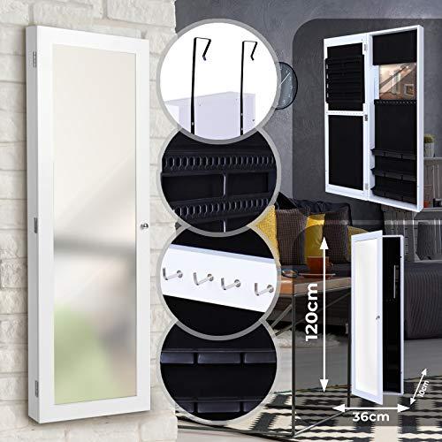 Portagioie Armadio Specchiera - 120 x 36 x 10 cm - Gioielleria da Appendere Parete - Organizzatore...