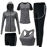 Zetiy Femmes 5 Pièces Ensembles Sportswear Costumes de Sport Gym Yoga Athletisme Fitness Jogging Survêtement (Gris, Large)