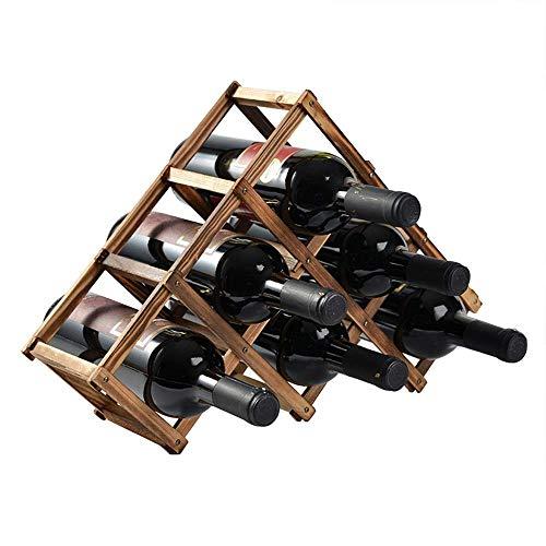 6 Bottiglie Posizione Libera Pieghevole Legno Porta Vini - Bottiglia di Vino Titolare Conservazione...