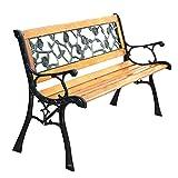 ASAB Gartenbank mit Rosenmuster, 3-Sitzer, Holzsitz, Terrassenstuhl mit Kunststoffrückplatte, Gartenmöbel, flach verpackt, Standard