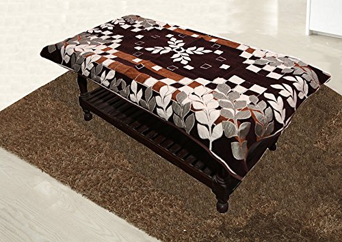 Kuber Industries Floral Cotton 4 Seater Centre Table Cover - Brown