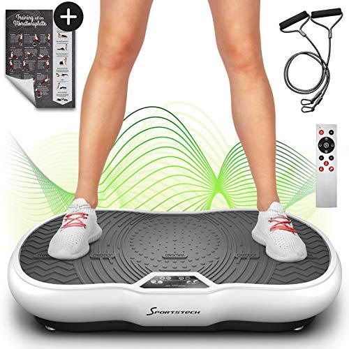 Sportstech Vibrationsplatte VP200 mit Bluetooth, innovativer Oszillationstechnologie für zu Hause,weiß