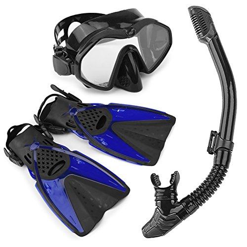 Set di boccaglio, Set Pinne, Maschera, Snorkel,Pinne Regolabili + Maschera, Unisex Kit Maschera Nuoto per Adulti Adolescenti-M