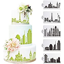 SEPTEMBER-EUROPE 5PCS Architectural Design Cake Decorating Stencil Baking Tools, Fondant Ice Mesh Stencil Mold, Flower Edge Torta Cottura di