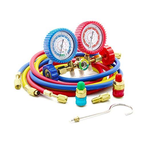 Latinaric Diagnostic Manifold Gauge Kit Manómetro AC Colector de Medición R134A R12 R22 R502 Refrigerantes