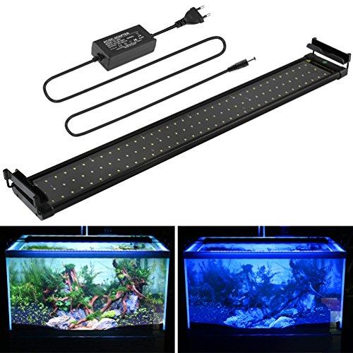 MAINLICHT Aquarium LED Beleuchtung, Aquariumbeleuchtung Lampe Weiß Blau Licht 18W mit Verstellbarer Halterung für 70cm-90cm Aquarium