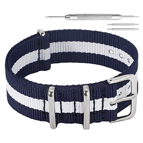 22mm blu/bianco/blu scuro degli uomini alla moda bande un pezzo di orologi in nylon stile NATO perlon spalline scure