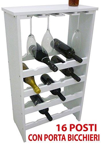 Mobile porta bottiglie bicchieri bianca cantinetta vino in legno bianco 16 posti con porta bicchieri...