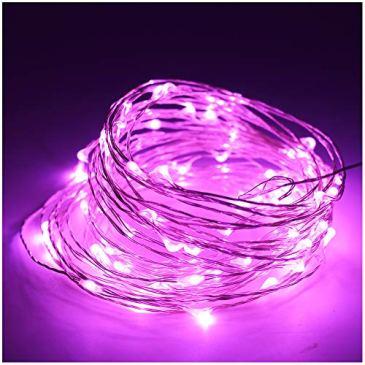 10M(32,8ft) 100 LED Cuivre fil de cuivre LED Guirlande lumineuse étanche étoiles Lumière Chaînes USB contrôlé pour le Festival de Noël (Rose)