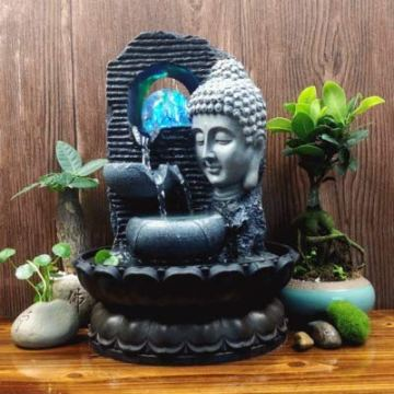 Creativo Chino Estatuas De Buda Adornos De Agua Fuente Zen Sala De Estar Suerte Decoración del Hogar Seguridad Feng Shui Artesanía B 28X20.5 Cm 3