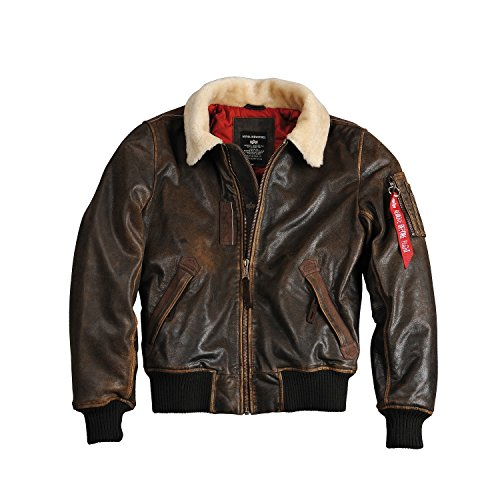 Alpha Industries Injector 3158152-Giacca Bomber in Pelle Marrone (Vintage Brown) XXXL