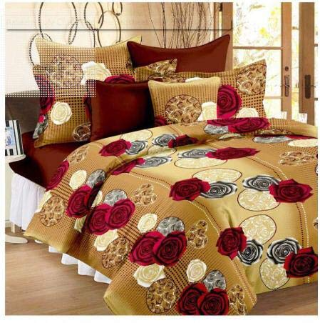 Panipat Textile Hub 100% Cotton Double BedSheet for Double Bed with 2 Pillow Covers Set, Queen Size Bedsheet Series, 140 TC, 3D Printed Pattern 1  Panipat Textile Hub 100% Cotton Double BedSheet for Double Bed with 2 Pillow Covers Set, Queen Size Bedsheet Series, 140 TC, 3D Printed Pattern 51FlPFYAp4L