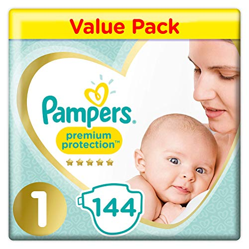 Pampers Premium Protection Soft Comfort Pannolini Jumbo Pack approvato dalla British Skin Foundation, taglia 1, 144 pezzi