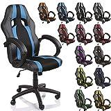 TRESKO® Poltrona Sedia direzionale da ufficio Racer classe di lusso - disponibile in diversi colori (nero/azzurro)