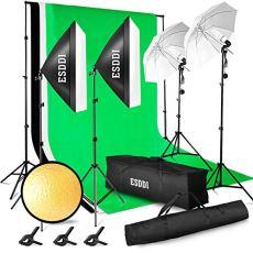 ESDDI- Kit de iluminación profesional con SoftBox de Paraguas- 800W 5500K- Para estudio de fotografía y vídeo - Fondo con soporte (Blanco, negro y verde) - 3 metros x 2.6 metros - Con bolsa de transporte