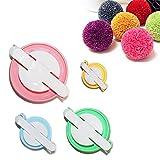 Taleemall 4 Tamaños (pequeño a grande) Pompón Hacedor Pelusa Bola Herramienta de DIY Pom Pom Maker Kit