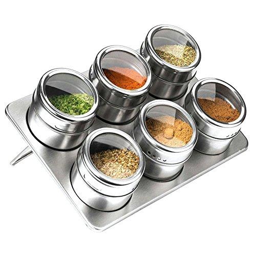 Set da cucina di 6 barattoli per spezie in acciaio INOX, pratici ...