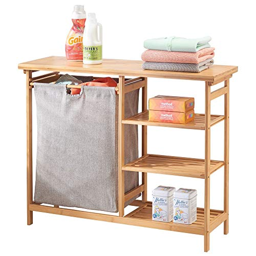 mDesign Badregal mit Wäschesammler - herausnehmbarer Wäschebehälter mit Griffen - mit Regal für Waschpulver, Weichspüler etc. - bambusfarben