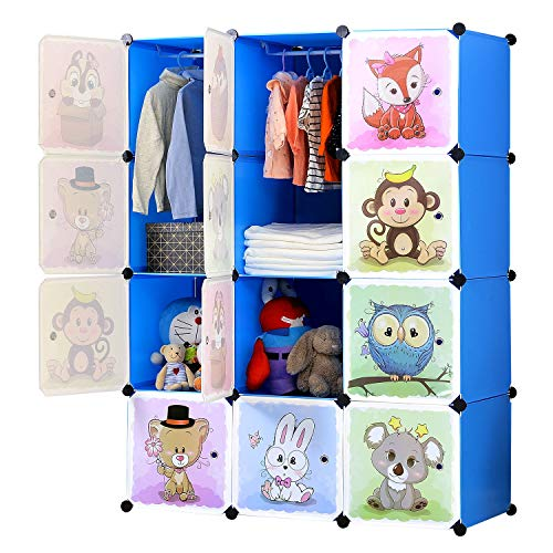 BRIAN & DANY Armadio Modulare Bambini, Portatile Guardaroba, Armadietto in Moduli Plastici, 8 Cubo e...