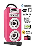 Altavoz Karaoke Bluetooth, DYNASONIC Reproductor mp3 inalámbrico portátil con micrófono, lector USB SD, Radio FM LINE IN 3.5mm control remoto, PC MAC iPhone Android Smartphones Tablets (Color Rosa)
