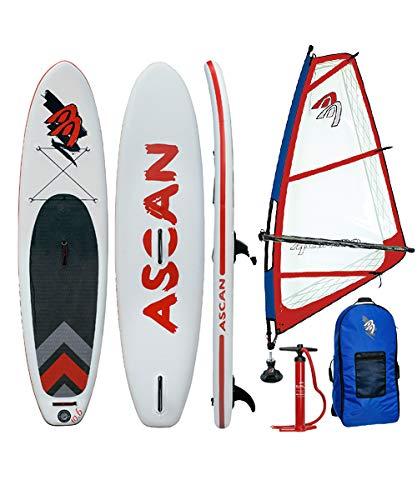 Ascan Wind iSUP Board 10.6 - Tabla de Windsurf Hinchable con Aleta + Kit de reparación + Juego Completo de Surf de Viento Rojo/Azul, 3,5qm